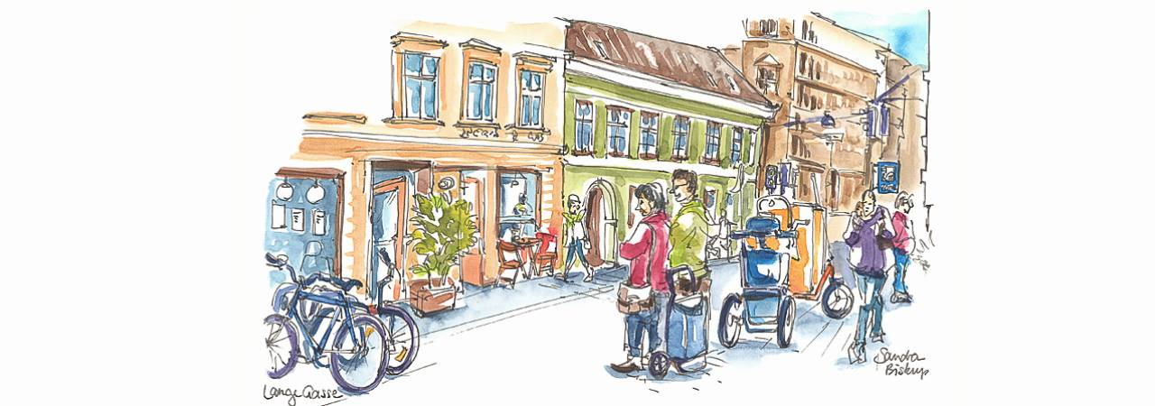 © Eurocomm-PR/Sandra Biskup; Drawing: Street scene in the shared space zone Lange Gasse