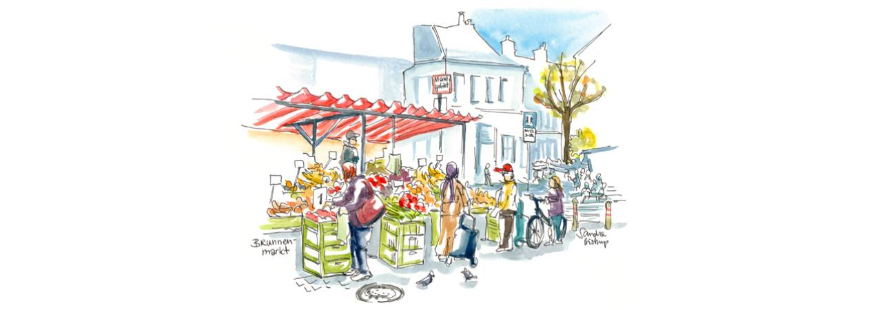© Eurocomm-PR/Sandra Biskup, Drawing of market stands on Vienna's Brunnenmarkt