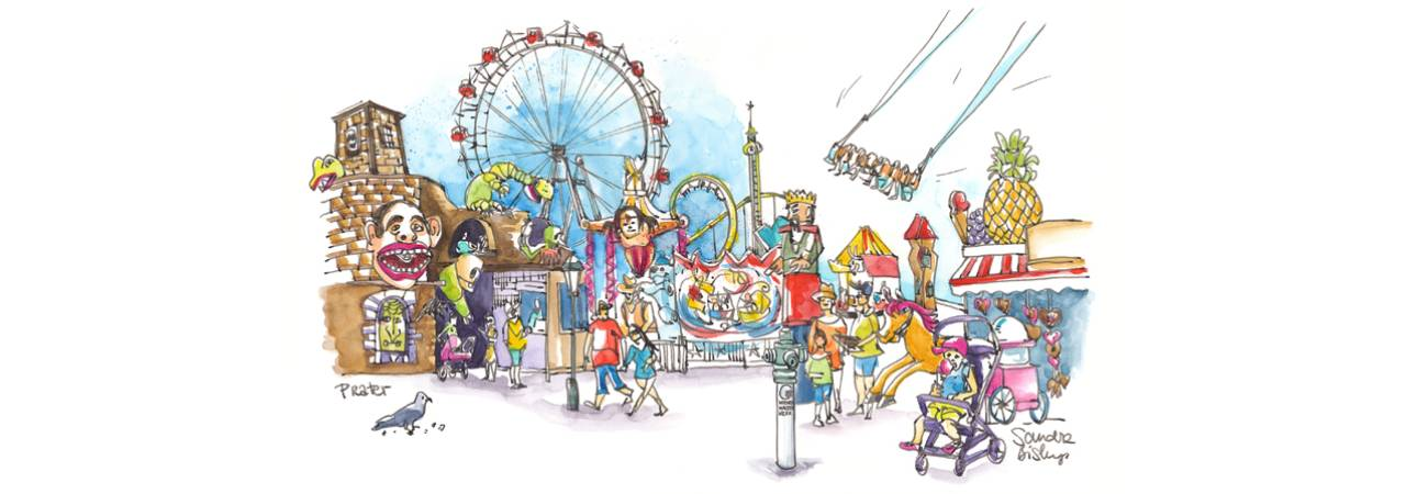 © Eurocomm-PR/Sandra Biskup; Drawing: Attractions and hustle and bustle in the Viennese amusement park called Prater