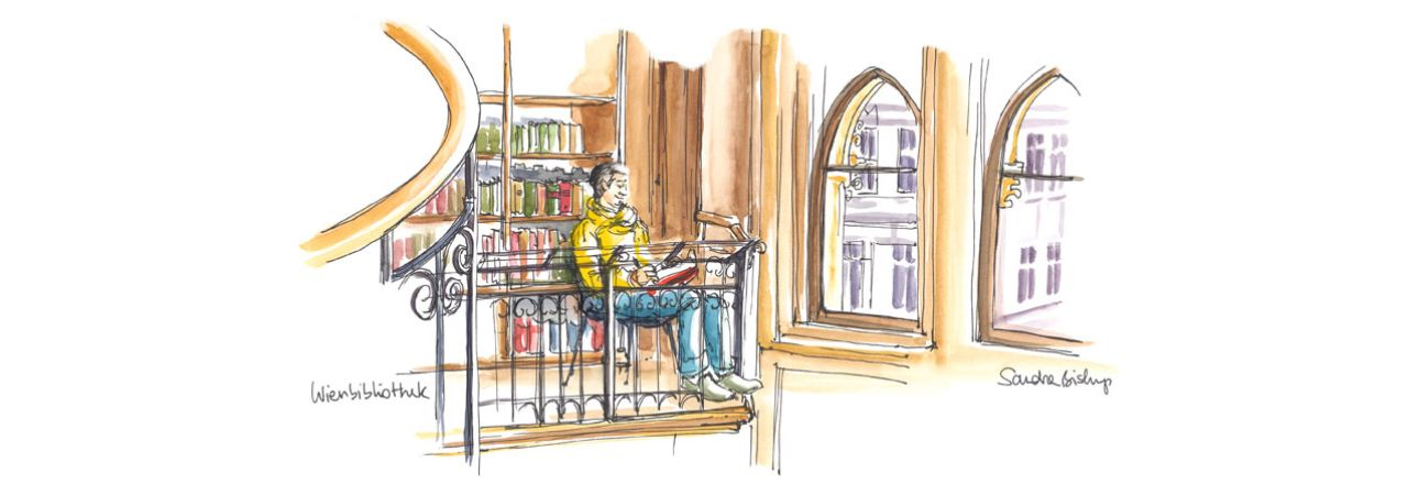 Drawing: Man in the reading room of the Vienna City Library