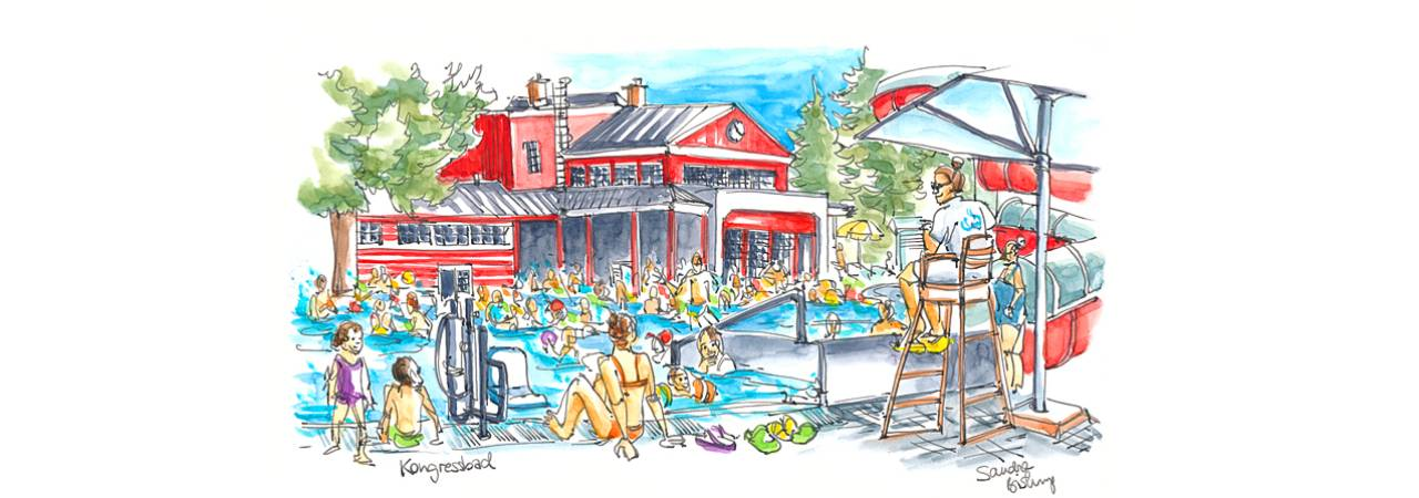 © Eurocomm-PR/Sandra Biskup; Drawing: Well-attended municipal open-air swimming pool